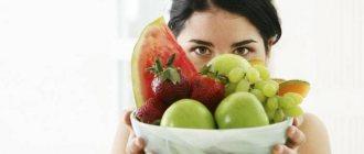 Девушка с тарелкой фруктов